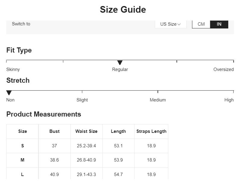 Shein size guide